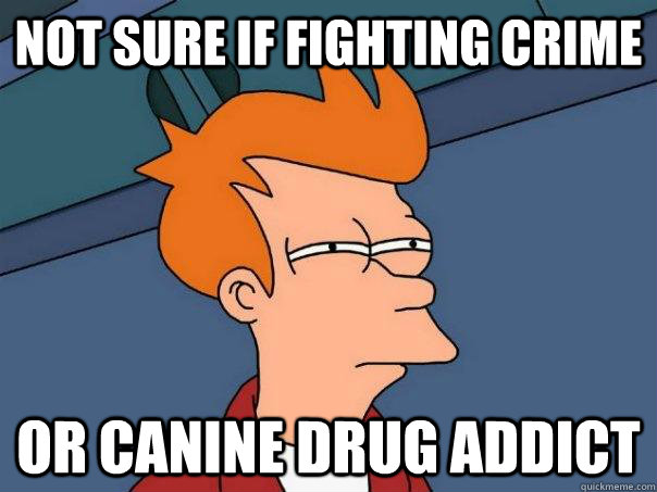 Not sure if fighting crime or canine drug addict - Not sure if fighting crime or canine drug addict  Futurama Fry