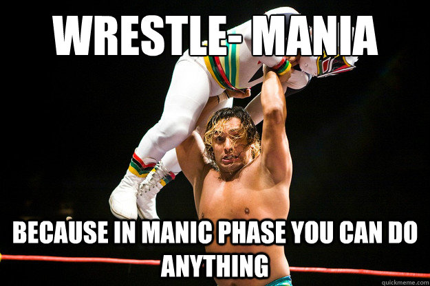 4f398e9dc4103fa33b708d247c747627c1de0e6e95522560d0ab0d3594a2932f wrestle mania because in manic phase you can do anything manic