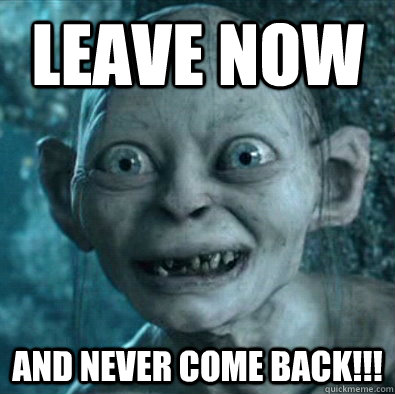 leave now and never come back!!! - leave now and never come back!!!  Gollum 11