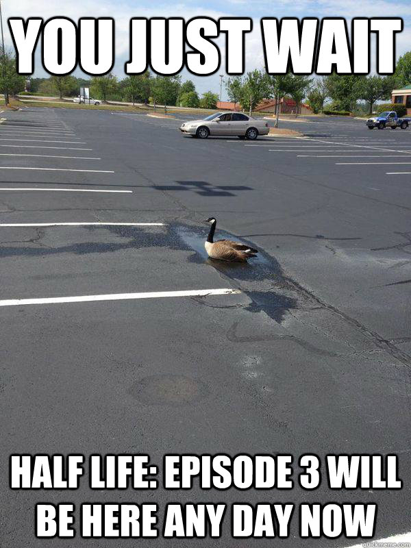 You just wait half life: episode 3 will be here any day now
