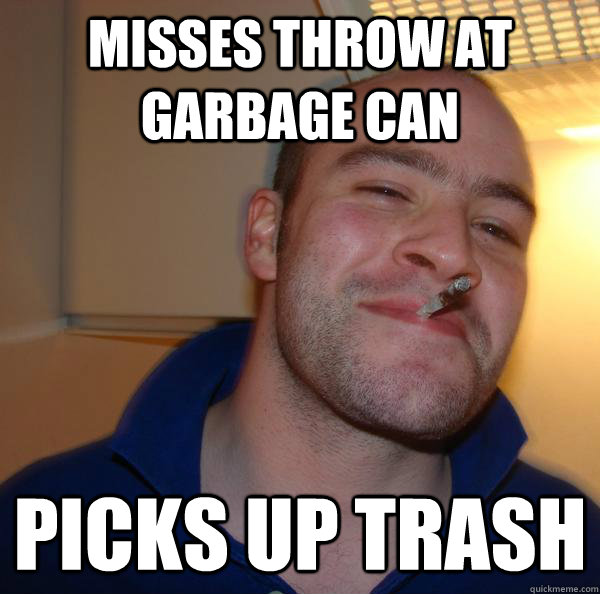 Misses throw at garbage can picks up trash - Misses throw at garbage can picks up trash  Misc