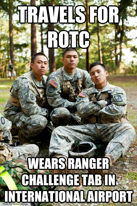 Travels for ROTC Wears Ranger challenge tab in International Airport