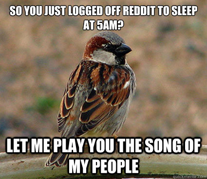 So you just logged off reddit to sleep at 5am? Let me play you the song of my people