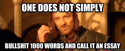 one does not simply bullshit words and call it an essay one  one does not simply bullshit 1000 words and call it an essay