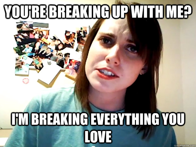 You're breaking up with me? I'm breaking everything you love