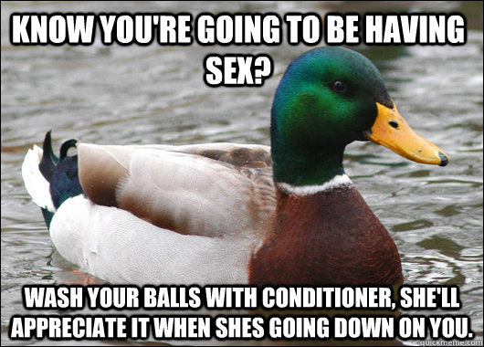 Know you're going to be having sex? Wash your balls with conditioner, she'll appreciate it when shes going down on you.  - Know you're going to be having sex? Wash your balls with conditioner, she'll appreciate it when shes going down on you.   Actual Advice Mallard