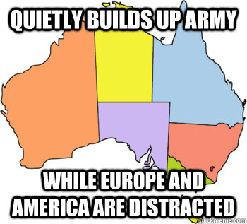 Quietly builds up army While Europe and America are distracted
