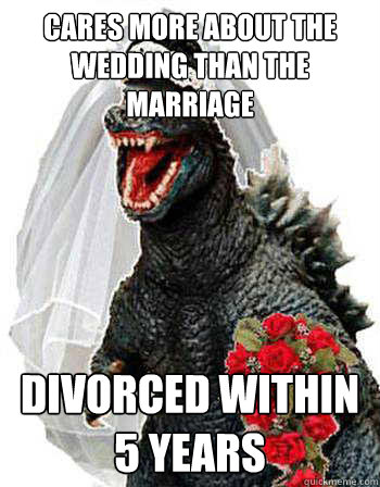 cares more about the wedding than the marriage divorced within 5 years