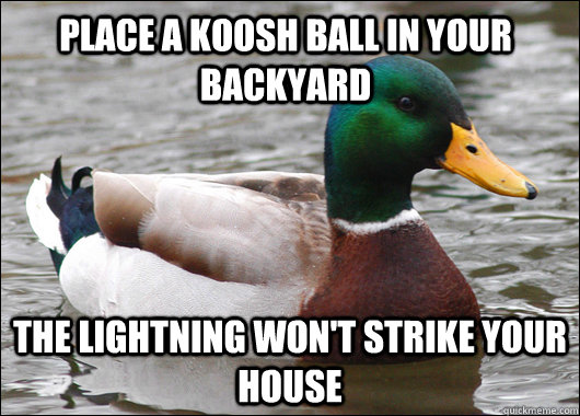 Place a koosh ball in your backyard The lightning won't strike your house - Place a koosh ball in your backyard The lightning won't strike your house  Actual Advice Mallard