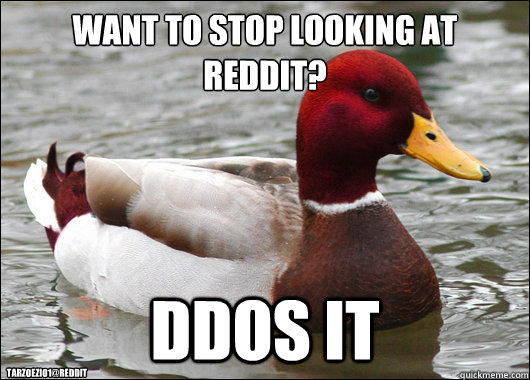 Want to stop looking at reddit?  DDOS it TARZOEZIO1@REDDIT - Want to stop looking at reddit?  DDOS it TARZOEZIO1@REDDIT  Malicious Advice Mallard