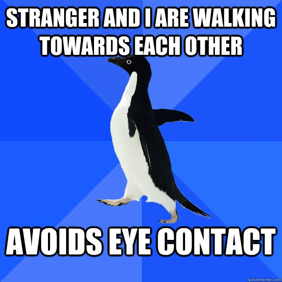 stranger and i are walking towards each other avoids eye contact - stranger and i are walking towards each other avoids eye contact  Socially Awkward Penguin