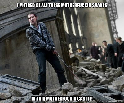 I'm tired of all these motherfuckin snakes In this motherfuckin castle!  Neville owns