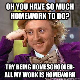 Oh you have so much homework to do? Try being homeschooled-all my work is homework - Oh you have so much homework to do? Try being homeschooled-all my work is homework  Condescending Wonka