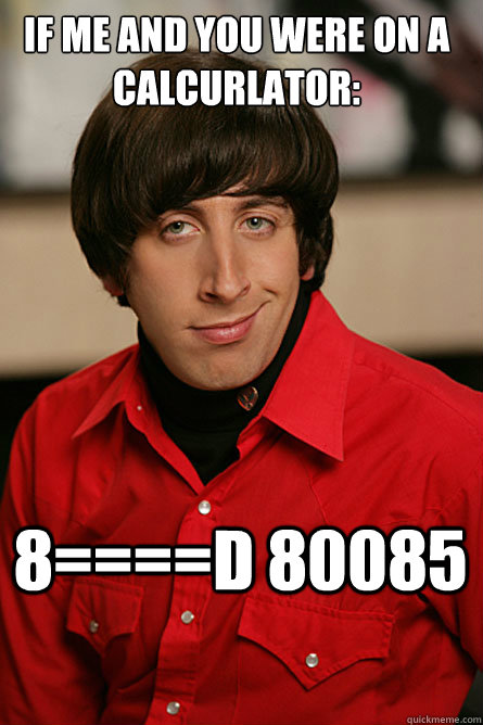 if me and you were on a calcurlator: 8====d 80085  Pickup Line Scientist