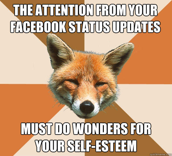 The attention from your Facebook Status updates Must do wonders for your self-esteem  Condescending Fox