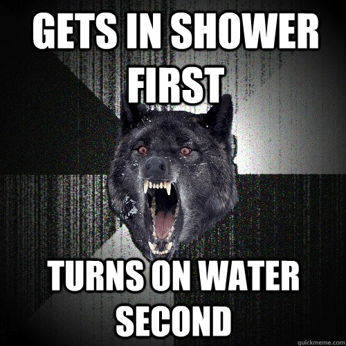 Gets in Shower first Turns on water second - Gets in Shower first Turns on water second  Insanity Wolf