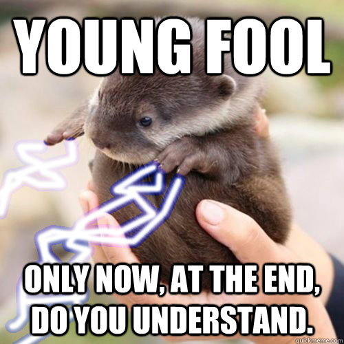 Young fool Only now, at the end, do you understand. - Young fool Only now, at the end, do you understand.  emperor otter
