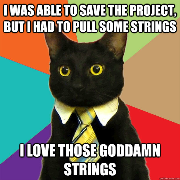 i was able to save the project, but I had to pull some strings I love those goddamn strings - i was able to save the project, but I had to pull some strings I love those goddamn strings  Business Cat