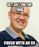 GET 30% ON THE FINAL  FINISH WITH AN 80  Zaney Zinke