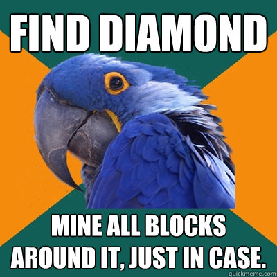 Find Diamond Mine all blocks around it, just in case. - Find Diamond Mine all blocks around it, just in case.  Paranoid Parrot