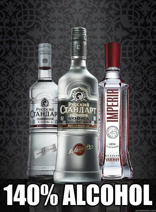 140% alcohol  Russian vodka