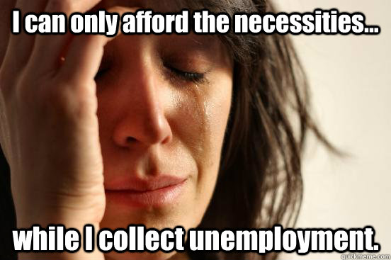 I can only afford the necessities... while I collect unemployment. - I can only afford the necessities... while I collect unemployment.  First World Problems