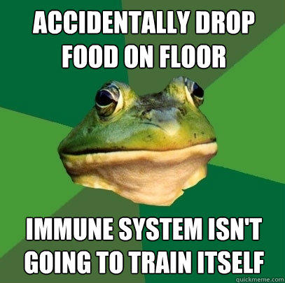 accidentally Drop food on floor immune system isn't going to train itself - accidentally Drop food on floor immune system isn't going to train itself  Foul Bachelor Frog
