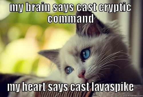MY BRAIN SAYS CAST CRYPTIC COMMAND MY HEART SAYS CAST LAVASPIKE First World Problems Cat