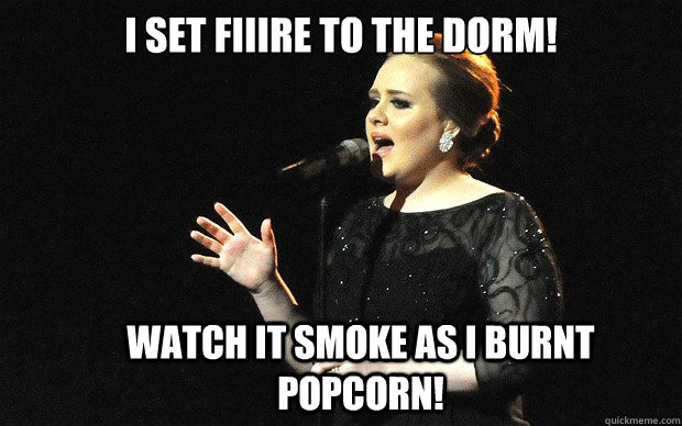 I Set Fiiire To The Dorm Watch It Smoke As I Burnt Popcorn Adele