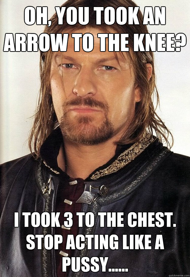Oh, You took an arrow to the knee? I took 3 to the chest. stop acting like a pussy......