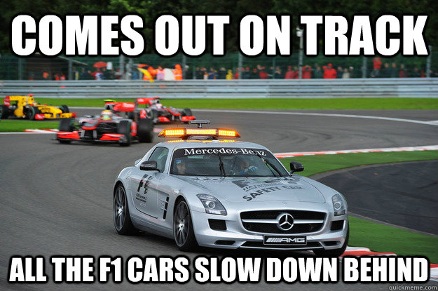 Comes Out On Track All The F1 Cars Slow Down Behind Ridiculously