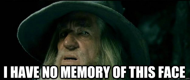 I have no memory of this face -  I have no memory of this face  Gandalf