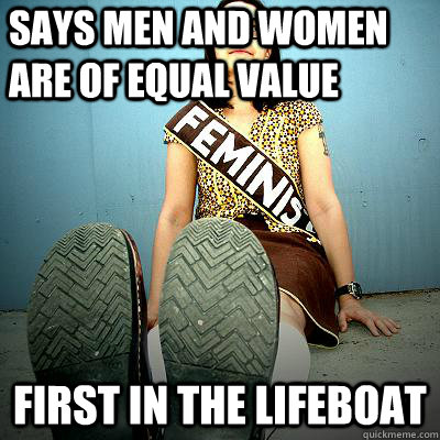 Says men and women are of equal value first in the lifeboat