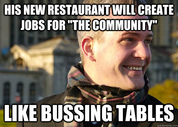 his new restaurant will create jobs for