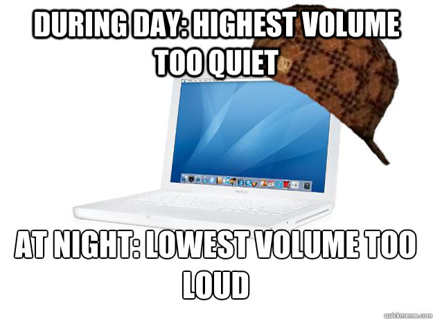 During day: Highest volume too quiet At night: lowest volume too loud