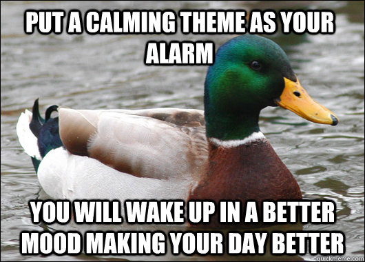 Put a calming theme as your alarm you will wake up in a better mood making your day better  - Put a calming theme as your alarm you will wake up in a better mood making your day better   Actual Advice Mallard