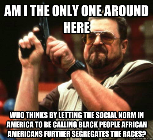 Am i the only one around here Who thinks by letting the social norm in America to be calling black people African Americans further segregates the races? - Am i the only one around here Who thinks by letting the social norm in America to be calling black people African Americans further segregates the races?  Am I The Only One Around Here