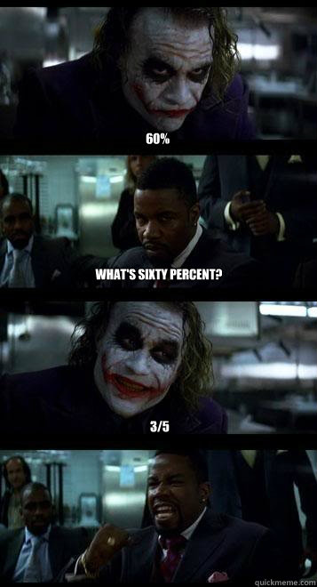 60% What's sixty percent? 3/5 - 60% What's sixty percent? 3/5  Joker with Black guy