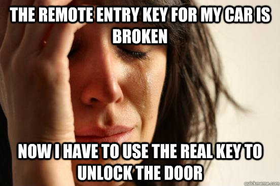 The remote entry key for my car is broken now I have to use the real key to unlock the door - The remote entry key for my car is broken now I have to use the real key to unlock the door  First World Problems