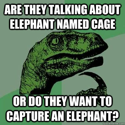 Are they talking about elephant named cage or do they want to capture an elephant?