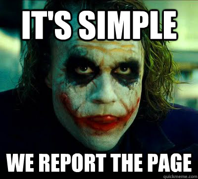 it's simple We report the page - it's simple We report the page  Simple Solution Joker