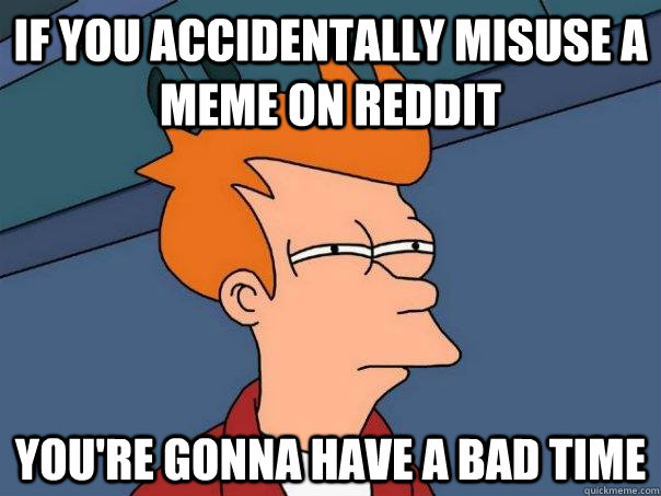 If you accidentally misuse a meme on reddit you're gonna have a bad time - If you accidentally misuse a meme on reddit you're gonna have a bad time  Futurama Fry