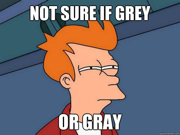 Not sure if grey or gray - Not sure if grey or gray  Futurama Fry