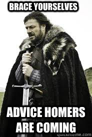 Brace Yourselves Advice Homers are coming
