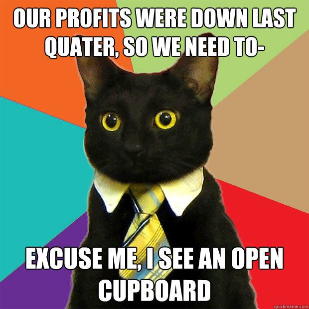 Our profits were down last quater, so we need to- Excuse me, I see an open cupboard - Our profits were down last quater, so we need to- Excuse me, I see an open cupboard  Business Cat