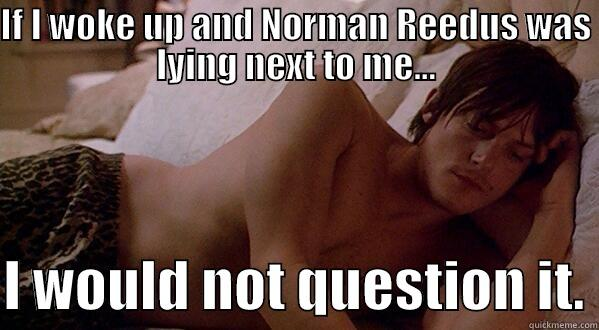 IF I WOKE UP AND NORMAN REEDUS WAS LYING NEXT TO ME...  I WOULD NOT QUESTION IT. Misc