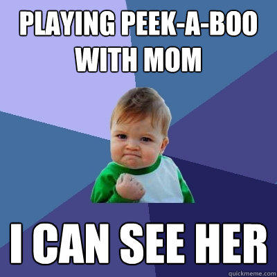 Playing peek-a-boo with mom I can see her - Playing peek-a-boo with mom I can see her  Success Kid