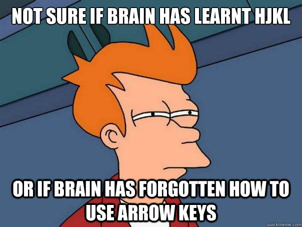 Not sure if brain has learnt hjkl or if brain has forgotten how to use arrow keys - Not sure if brain has learnt hjkl or if brain has forgotten how to use arrow keys  Futurama Fry