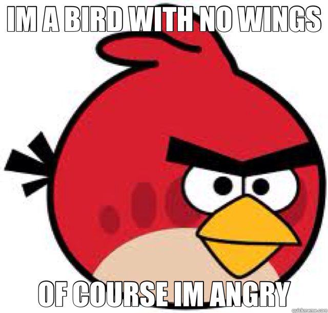 IM A BIRD WITH NO WINGS OF COURSE IM ANGRY