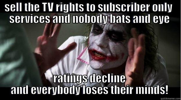 The F1 Problem... - SELL THE TV RIGHTS TO SUBSCRIBER ONLY  SERVICES AND NOBODY BATS AND EYE RATINGS DECLINE AND EVERYBODY LOSES THEIR MINDS! Joker Mind Loss